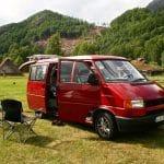 T4 Camper in Norwegen auf Campingplatz